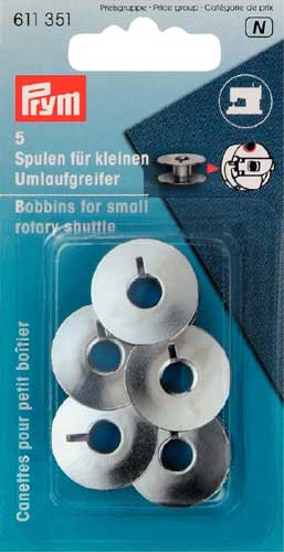 Prym 21.2 mm Bobbins for Sewing Machine for Small Rotary Shuttle Metal