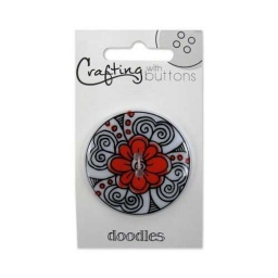 BL47.000.1412 - Black and White Coral Flower Doodle Button