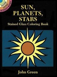 Sun Planets Stars Stained Glass Coloring Book