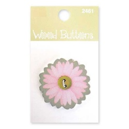 BL47.000.2461 - Floral Wood Alphabet Buttons Large Pink Daisy