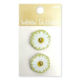BL47.000.2456 - Floral Wood Alphabet Buttons Small White Daisy
